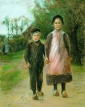Max Liebermann, Ragazzo e ragazza in una strada di villaggio