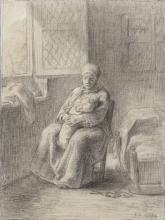 MIllet, Donna seduta con un bambino vicino a una finestra aperta.jpg