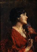 Mancini, Ritratto di Maria Sangiovanni con la bandiera degli Stati Uniti d'America