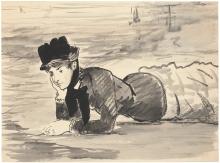 Manet, Annabel Lee. Donna sdraiata sulla spiaggia.jpg