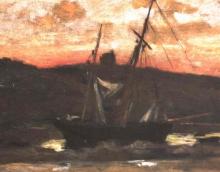Manet, Barca a vela davanti a un paesaggio costiero.jpg