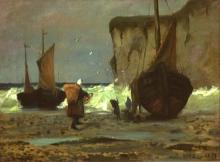 Manet, Barche da pesca sulla spiaggia,  Saint Pierre en Port, Normandia | Bateaux de pêche sur la plage, Saint-Pierre-en-Port, Normandie
