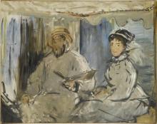 Manet, Il pittore Monet nel suo studio | Le peintre Monet dans son atelier | Der Maler Monet in seinem Atelier | The painter Monet in his studio