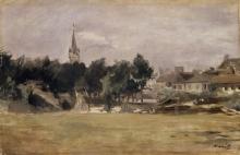 Édouard Manet, Paesaggio con una chiesa di villaggio   Paysage avec une église de village   Landscape with a village church