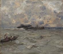 Pompeo Mariani, Vapore sul mare in tempesta
