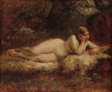 Millet (attribuito a), Nudo femminile sdraiato | Nu féminin couché | Liegender Frauenakt