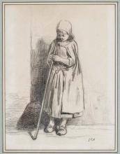 Millet, Bambina con un bastone appoggiata ad un muro.jpg