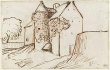 Millet, Casa alverniate fiancheggiata da una torre.jpg