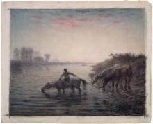 Millet, Cavalli all'abbeverata, tramonto | Watering horses, sunset