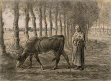 Millet, Contadina che bada alla sua mucca.jpg
