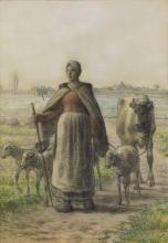 Millet, Contadina che conduce ai campi la sua mucca e le sue pecore.jpg