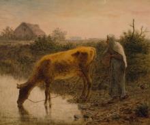Millet, Contadina che fa bere la sua mucca.jpg