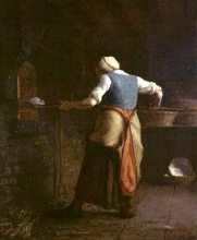 Millet, Contadina che inforna il suo pane | Paysanne enfournant son pain | Broodbakkende vrouw | A woman baking bread