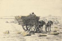 Jean-François Millet, Contadini che caricano grano su un carro   Paysans chargeant du blé dans une charrette