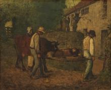 Millet, Contadini che portano a casa il vitello nato nei campi.jpg