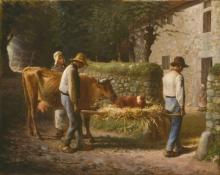 Millet, Contadini che portano a casa un vitello nato nei campi.jpg