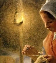 Millet, Donna che cuce alla luce della lampada [dettaglio 1].png