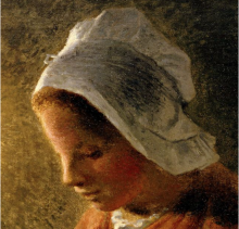 Millet, Donna che cuce alla luce della lampada [dettaglio 2].png