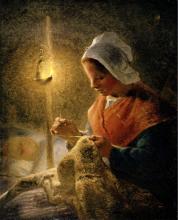 Millet, Donna che cuce alla luce della lampada.png