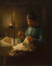 Millet, Donna che cuce vicino al suo bambino addormentato.jpg