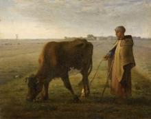 Millet, Donna che fa pascolare una mucca.jpg