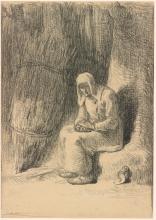 Millet, Donna seduta vicino ad un fascio di fieno.jpg