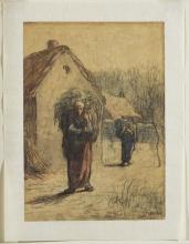Millet, Donne che portano fasci d'erba all'entrata di un villaggio | Femmes portant des faix d'herbes à l'entrée d'un village | Women carrying loads of grasses at the entrance of a village