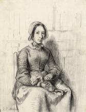 Millet, Emelie Millet, sorella dell'artista, con gatto.png