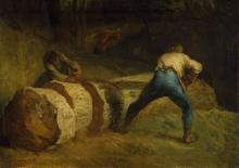 Jean-François Millet, I boscaioli che segano un tronco d'albero
