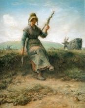 Millet, La filatrice, guardiana di capre alverniate [1867 circa].jpg