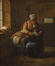 Millet, La lezione di lavoro a maglia [1854 circa].jpg