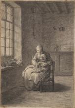 Millet, La lezione di lavoro a maglia [1858-1860 circa].jpg