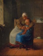 Millet, La lezione di lavoro a maglia [1860 circa].jpg