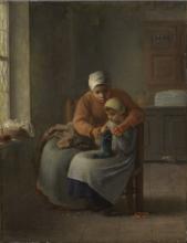 Millet, La lezione di lavoro a maglia [1860 circa].png