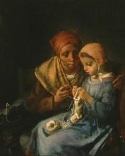 Millet, La lezione di lavoro a maglia [1869].jpg
