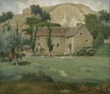 Jean-François Millet, Mulino ad acqua ai piedi di una montagna, Allier | Moulin à eau au pied d'une montagne, Allier | Watermill at the foot of a mountain, Allier
