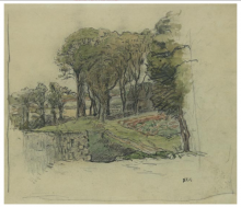 Millet, Paesaggio con fabbricato tra gli alberi.png