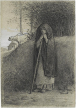 Millet, Pastorella con il suo gregge | Bergère avec son troupeau | Hirtin mit Schafen | Shepherdess with her Flock
