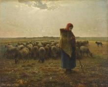 Millet, Pastorella con il suo gregge [1863 circa].jpg