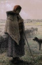 Millet, Pastorella con il suo gregge e il suo cane [dettaglio].jpg
