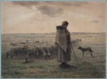 Millet, Pastorella con il suo gregge e il suo cane.jpg