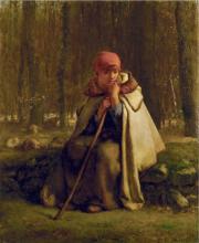 Jean-François Millet, Pastorella seduta   Bergère assise   Seated shepherdess