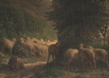 Millet, Pecore che pascolano lungo una siepe.jpg