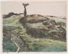 Millet, Prato collinare con un albero contorto.jpg