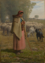 Millet, Ragazza a guardia delle sue pecore.png