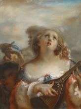 Millet, Ragazza che suona il mandolino | Jeune fille jouant de la mandoline | Young girl playing mandolin