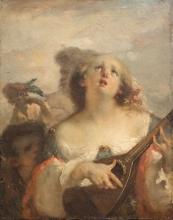 Jean-François Millet, Ragazza con il mandolino | Jeune fille à la mandoline | Young girl with a mandolin
