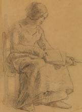 Millet, Studio per Donna che carda la lana [dettaglio].jpg