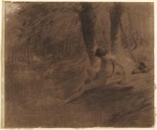 Millet, Studio per Studio per « La ragazza delle oche » | Study for The goose girl bathing