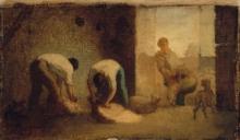 Millet, Tre uomini che tosano una pecora in un granaio.jpg